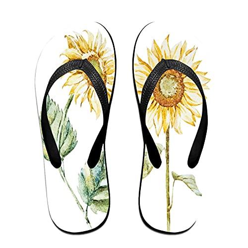 Sandalia fina unisex con chanclas,Girasoles brillantes de moda acuarela, Yoga Mat chancletas de cuero cómodo Beach Tamaño de la correa con el peso ligero EVA Suela M