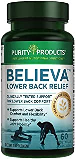Believa™ Lower Back Pain Relief from Purity Products - The Every-Day Herbal Pain Relief Formula - 2018 Clinical Study - Exclusive Proprietary Formula - 60 Vegetarian Capsules