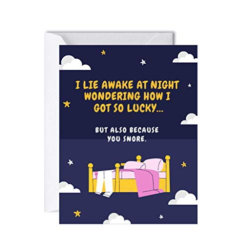 Funny Valentine's Day Card for Him, Boyfriend, Friend, Cute Anniversary Birthday Gifts, Love Greeting Cards (I Lie Awake at Night Wondering How I Got So Lucky, But Also Because You Snore)