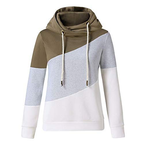 90sMuse Women's Sweatshirt Trendy Hooded Scarf Collar Long Sleeve Winter Warm Color Block Pullover Hoodies Blouse Top (Army Green, M)