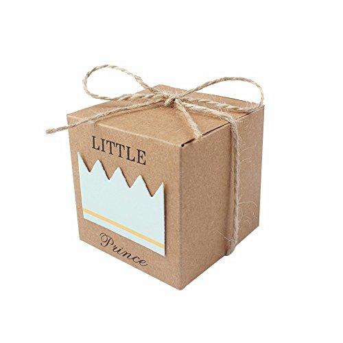 JZK 50 x Little Prince cajitas regalo papel kraft marrón cajas de detalle para niño baby shower fiesta cumpleaños bautizo niños fiesta recién nacida