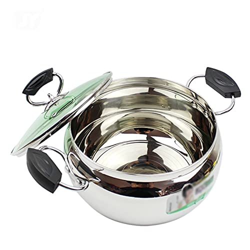 Utensilios de cocina al vapor 201 de acero inoxidable de acero, olla de sopa gruesa/olla de cocina con tapa, (20 cm), para cocina de gas/cocina de inducción Charola para hornear