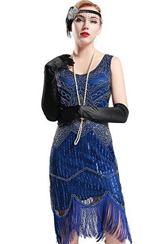 BABEYOND Abito da sera in rilievo ArtiDeco 1920 Flapper frange Vestito di paillette ruggenti anni '20 del vestito operato Gatsby Costume d'epoca XL Blu
