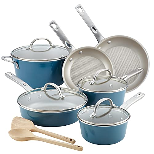 Ayesha Curry Home Collection Nonstick Cookware Pots and Pans Set, 12 Piece, Twilight Teal