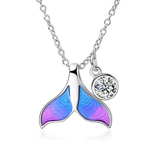 WINNICACA Meerjungfrau Halskette S925 Sterling Silber Kette Kristall Anhänger Geschenke für Frauen Mädchen Muttertag