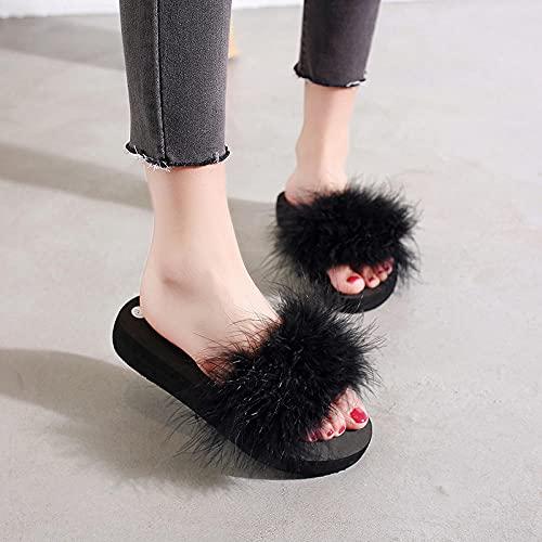 Zapatillas De Casa para Mujer Verano Abiertas,Las Nuevas Zapatillas De Piel Gruesa De Peluche De Moda, Pendiente De Fondo Plano De Verano para Mujer con Flip-Flops, Desgaste Zapatillas De Playa De Ja
