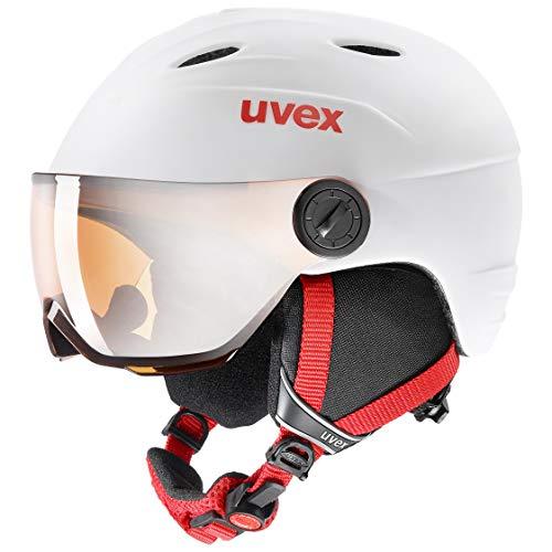 uvex Unisex Jugend, junior visor pro Skihelm, white-red mat, 54-56 cm