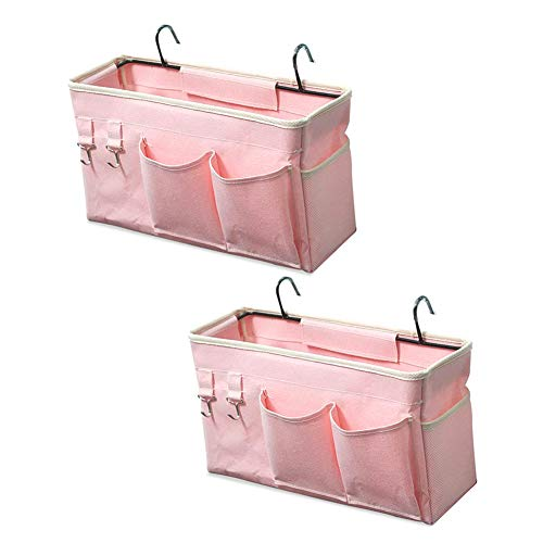 Ozzptuu - Juego de 2 bolsas de almacenamiento para colgar la mesita de noche, para literas, camas de hospital, dormitorio de bebé, para organizar revistas, llaves, teléfonos móviles (rosa claro)