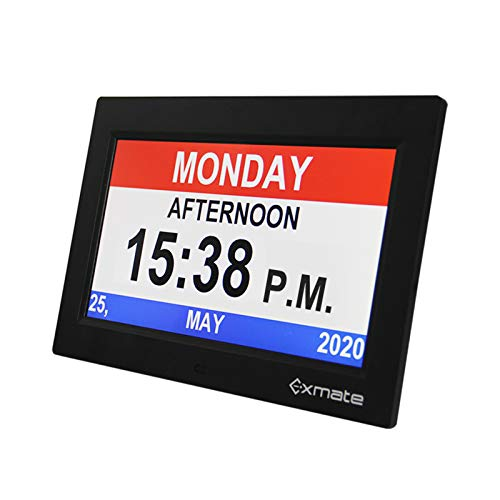 "Exmate Day Clock Calendar, 10"" Extra Large Non-Abbreviated Screen Display, AM/PM, with 13 Alarm Options, Snooze Function, Adjustable Brightness, for Elderly, Visual Impairment, Dementia, Memory Loss"