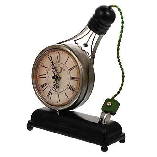 VICASKY 1 Pieza Retro Reloj de Escritorio Ornamentos Hechos de Estilo Antiguo de Hierro Forjado Decoraciones para El Hogar