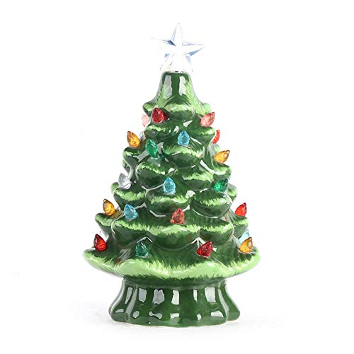 SH Ceramic Christmas Tree, Tabletop Christmas Tree with Multicolored Lights Decoration, Green Hand Painted Tabletop Xmas Decor with Mini Light Bulbs and Top Star, 8.26 Inch