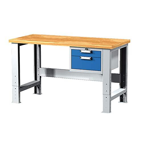 Certeo – Mesa de trabajo con dos cajones gris RAL 7035 azul claro RAL 5012, 1500 mm de largo, banco de trabajo, altura regulable, mesa multifunción