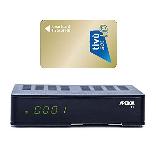 Receptor APEBOX S2, USB, CA, IPTV con transmisor de tarjeta TIVUSAT preinstalado...