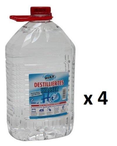 20 litros de Agua destilada (4 bidones de 5 litros Cada uno).