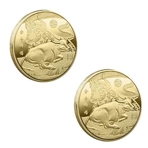 LUOEM Chinesische Gedenkmünze 2021 Jahr Der Ochsen Sammlermünzen 2 STK Metall Golden Münze Andenkenmünzen Glücklich Geschenk Silvester Party Festival Glückbringer Gastgeschenk