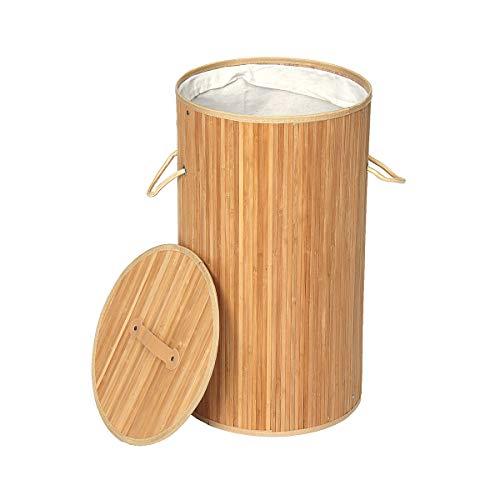 RanDal Tvättkorg Rund bambu tvättar smutsig tvätt Sortering korgar med lock