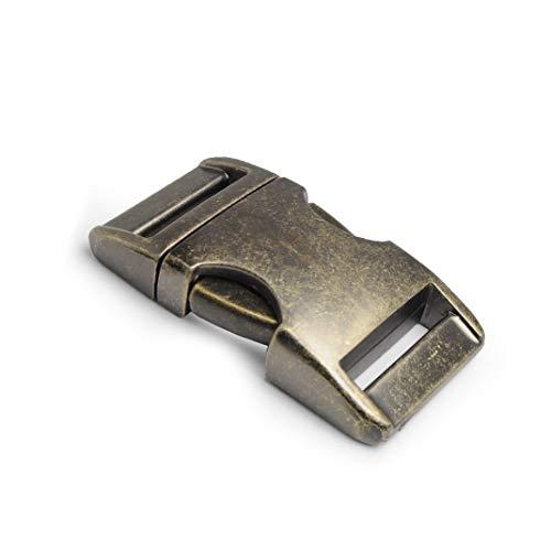 """Metall-Klickverschluss Alumaxx, 2er Set, 3/4"""" / Klippverschluss/Steckschließer/Steckverschluss für Paracord-Armbänder, Hunde-Halsbänder, Rucksack, Oberfläche vermessingt, Farbe: Goldoptik antik"""