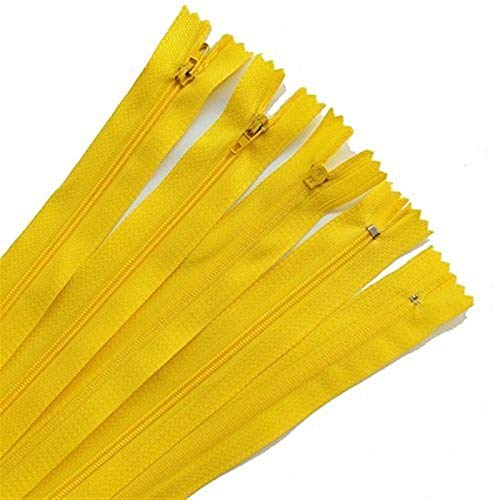 Zyilei-remplazo Cremallera 100 unids Colorido Cerrado de Nylon Bobina Cremalleras, Traje Tailor Costura Accesorios de Ropa 15-40cm 3#, Amplia Gama de Aplicaciones (Color : Yellow, Length : 15cm)