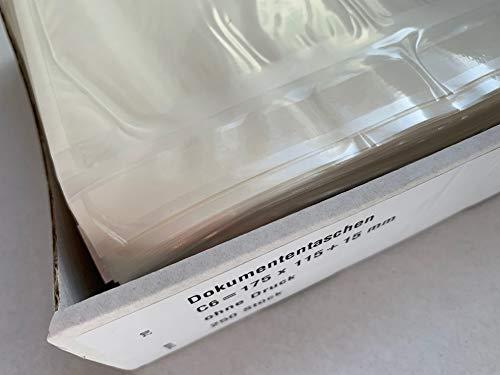 250 Lieferscheintaschen, blanko, C6 = 17,5 x 13 cm, selbstklebend, transparent, Versandpapiertaschen, Dokumententaschen, Warenbegleitpapiertaschen, Begleitpapiertaschen