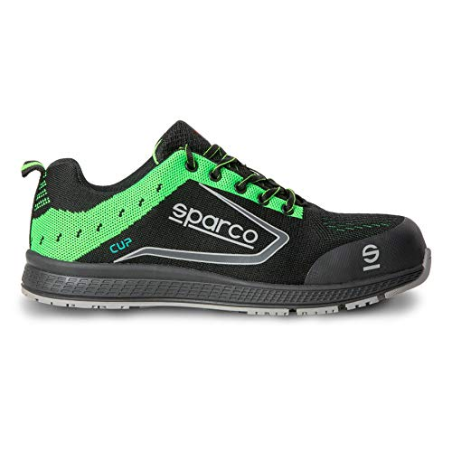 Sparco - Zapatillas Cup S1P Black/Fluo Green, 44 EU