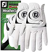 FootJoy Men's WeatherSof 2-Pack Golf Glove White Cadet Large, Worn on Left Hand