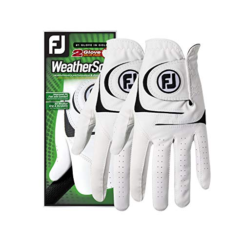 FootJoy Men's WeatherSof 2-Pack Golf Glove White X-Large, Worn on Left Hand