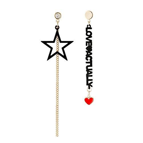MEEOI exageración de la moda Ear Stud Earrings Ear Hoop 925 de plata esterlina para mujer, con letras asimétricas, cinco puntas, borlas de estrella Pendientes