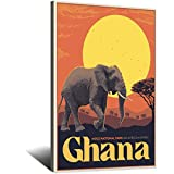 Vintage-Reise-Poster Ghana auf Leinwand, Kunstdruck, Bild,