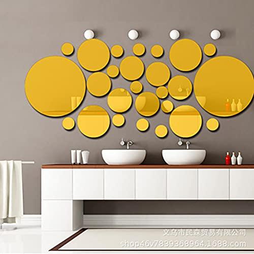 """Breath Lustro """"zrób to sam"""", naklejki ścienne, akrylowe okrągłe lustro """"zrób to sam"""", akrylowe kryształowe lustro, dekoracja na ścianę, do sypialni, salonu, kultury mieszkalnej (zestaw 2, złote)"""