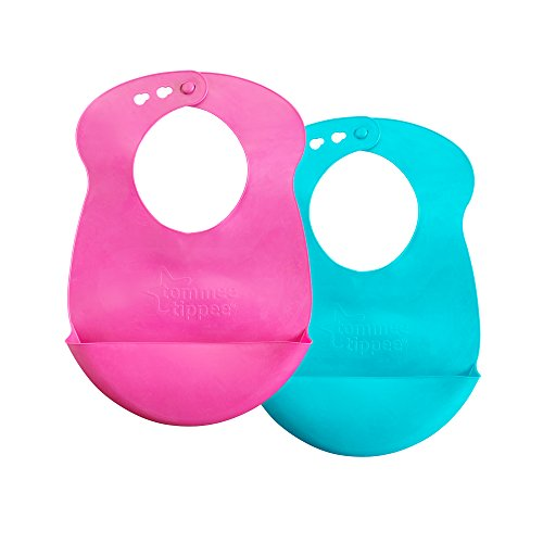 Tommee Tippee Easi-Roll Up Bib, BPA-Free Crumb & Drip Catcher, Pink & Blue Pink & Purple, 2 Count (Colors May Vary)
