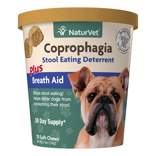 NaturVet – Coprophagia Stool Eating Deterrent Plus Breath Aid – Deters Dogs from Consuming Stool – Enhanced with Breath Freshener  Enzymes & Probiotics – 70 Soft Chews