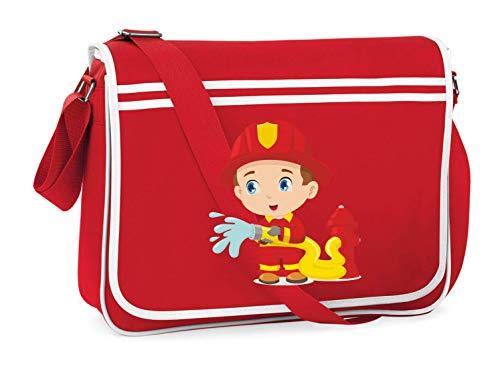 Druckerlebnis24 Schultertasche - Feuerwehrmann Cartoon Schlauch Wasser - Umhängetasche, geeignet für Schule Uni Laptop Arbeit