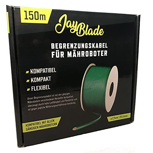 JayBlade - Cable de limitación de 150 m diámetro de 2,7 mm para robot cortacésped cable de búsqueda alambre de limitación compatible con GARDENA EINHELL HUSQVARNA WORX ROBOMOW McCulloch YARD F
