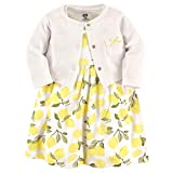 Hudson Baby Girls' Cotton Dress and Cardigan Set, Lemon, 0-3 Months