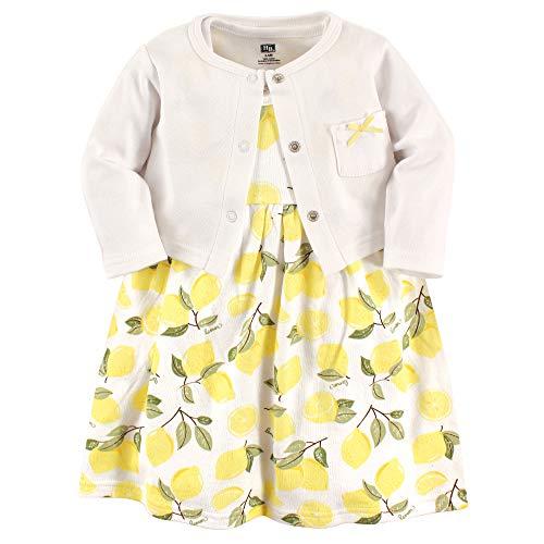 Hudson baby Baby-Mädchen Dress and Cardigan Set Lässiges Kleid, zitronengelb, 3-6 Monate