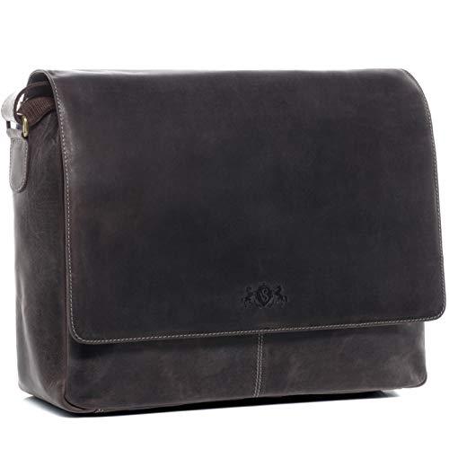SID & VAIN XL Messenger Bag mit 15' Laptop-Fach echt Büffel-Leder Spencer groß Businesstasche Laptoptasche Umhängetasche Ledertasche Herren braun