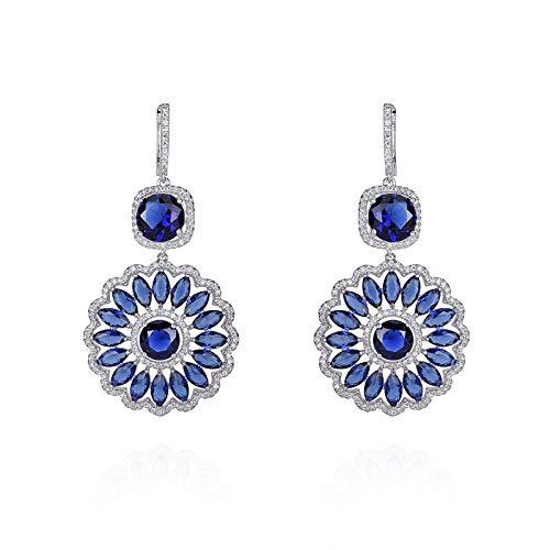 Bruja azul Pendientes de mujer Plata de ley 925 5A zircona cúbica propiedades características Pendientes Regalo Antiafilaxia