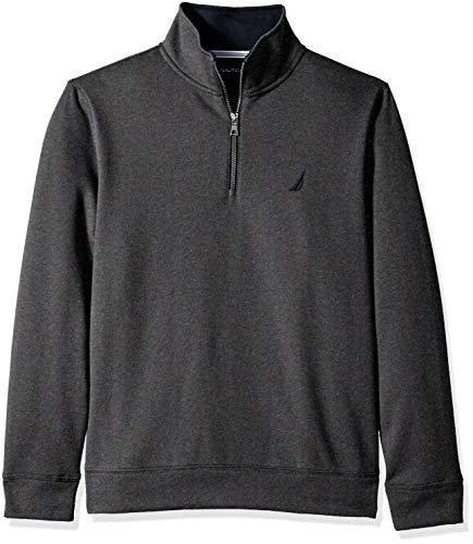 Nautica Men's Solid 1/4 Zip Fleece Sweatshirt, Charcoal Heather, X-Large