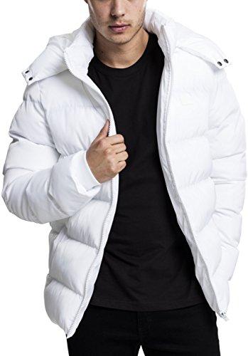 Urban Classics Chaqueta con Capucha de Hombre Chaquetón de Invierno con Cremallera y Puños Elásticos, Abrigo en Color white, Talla S, Blanco