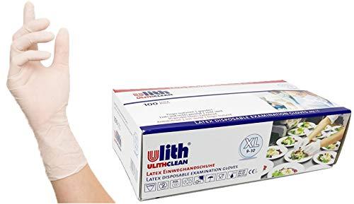 100 Stück pro Box Latexhandschuhe, Untersuchungshandschuhe, Einmalhandschuhe (XL,weiß)