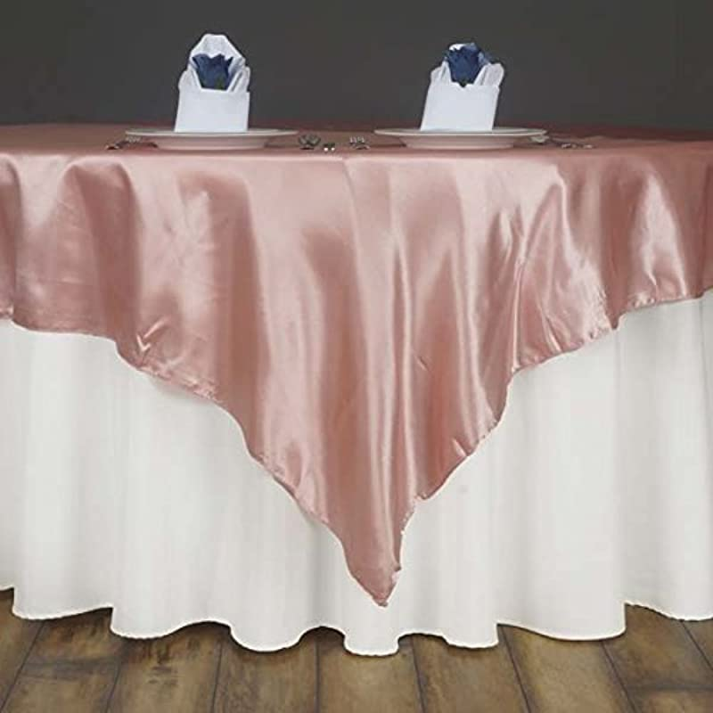 Efavormart 5pcs 60 Satin Square Tablecloth Overlay For Wedding Catering Party Table Decorations Blush Square Tablecloth Cover