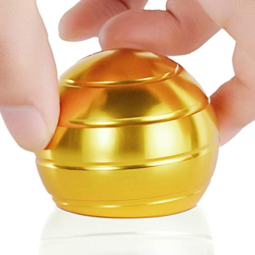 DESDK Office Stress Relief Gadgets Metal Kinetic Spinning Desk Toy New Version Fidget Toy Ball for Adults & Kids Anti Anxiety ADHD Autism Stress Reliever Inspire Creativity (Gold)