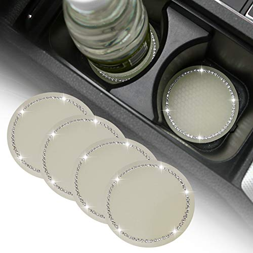 4 Pack Bling Car Coasters, 2.75 Inch Bling Crystal Rhinestone Soft Rubber Universal Anti-Slip Glitter Cup Mats Auto Cup Holder Insert Drink Coaster Car Interior Decoration Accessories for Women Girls