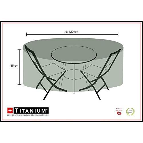 Chalet-Jardin Housse Table Ronde + CHAISES 120 Protection INDECHIRABLE Titanium CHAISES-90g/m² -NOIR-120x120x85cm, Noir