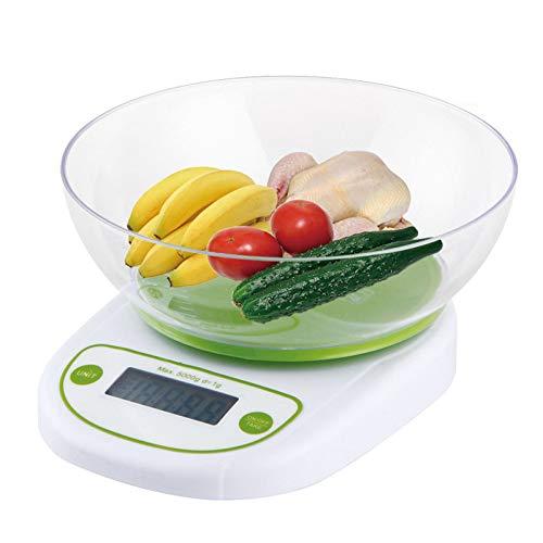 Balanzas Cocina Digital De Compacta,10kg/1g Balanza Electrónica De Alimentos Con Funciones De Tara Y Recipiente Desmontable,Para Hornear Ingredientes Joyería,Green