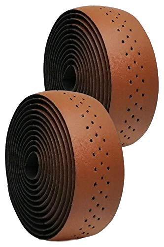 morytrade バーテープ ロードバイク グリップテープ クロスバイク グリップ 穴あき バーエンド (ブラウン)