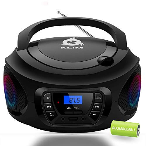 KLIM CD Boombox Portable Audio, FM Radio, Rechargeable Battery, Bluetooth, MP3 and AUX. Equipped with Super Bass Neodymium Speakers, [2020 Release] Upgraded CD Laser Lens.