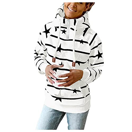Mymyguoe Kawaii Pullover Teenager MäDchen Cute Hoodies for Girls Langarmshirt Regular Fit Winter Jumper 1/4 ReißVerschluss Stern-Streifen-Print Sweatshirts Rollkragen-Kapuzen-Sweatshirt Mit Kordelzug
