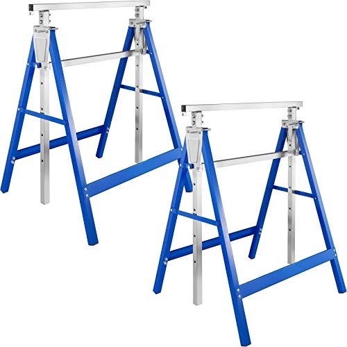2x Tréteaux Télescopiques Extensibles, Réglables en Hauteur, bleu