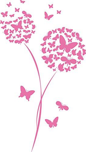 GRAZDesign Wandtattoo für Wohnzimmer Blume Schmetterlinge Pusteblume Wand-Deko mit Selbstklebender Folie (101x57cm//045 Hellrosa)